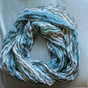 Maurice's Chevron teal and cream infinity scarf